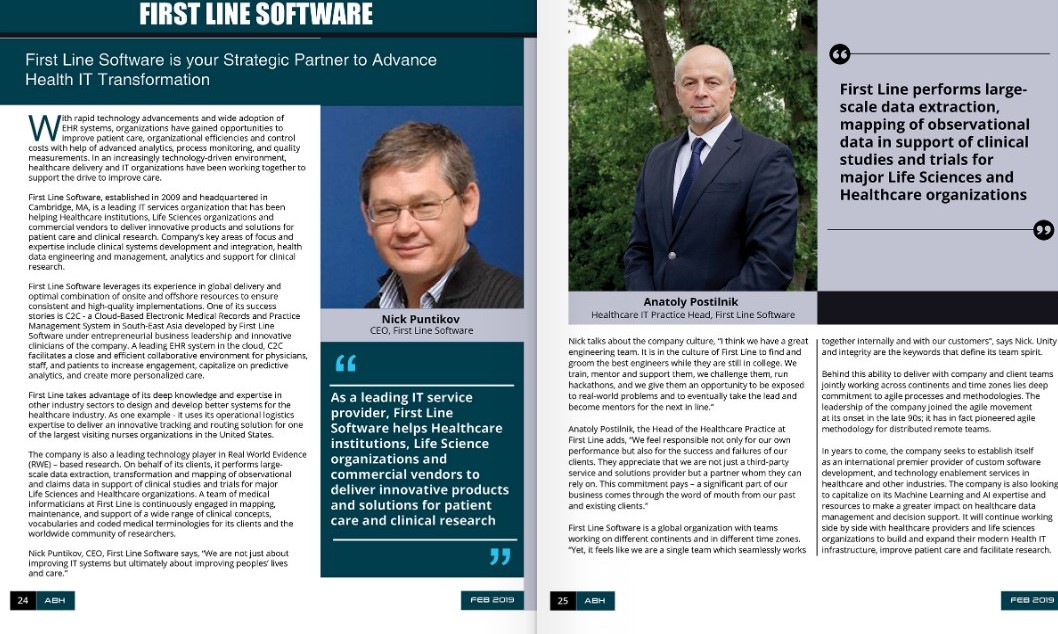 Article by APAC Business Headlines about Custom Healthcare Software Development Company - First Line Software and their Healthcare IT Practice. With quotes from Nick Puntikov (CEO) and Anatoly Postilnik (Healthcare IT Practice Head)